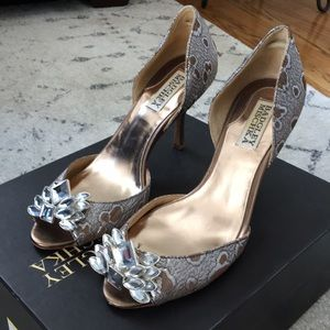 Badgley Mischka embellished Peep toe heels